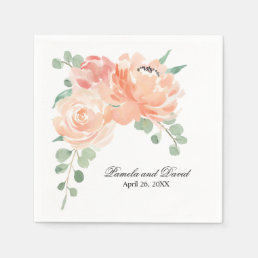 Peaches and Cream Watercolor Floral Wedding Napkin