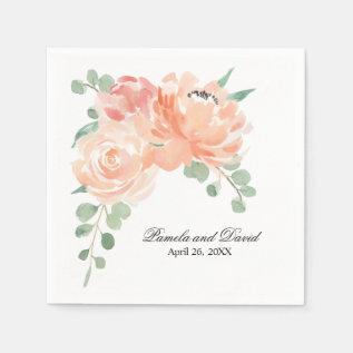 Peaches And Cream Watercolor Floral Wedding Napkin at Zazzle