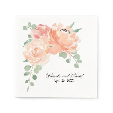 oasis_landing Peaches and Cream Watercolor Floral Wedding Napkin