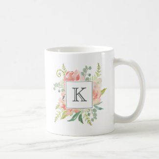 Peaches and Cream Watercolor Floral with Monogram Coffee Mug