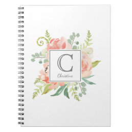 Peaches and Cream Watercolor Floral with Monogram Notebook