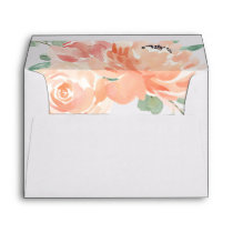 Peaches and Cream Watercolor Peonies Floral Envelope
