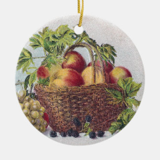 Peaches and Grapes Vintage Thanksgiving Ceramic Ornament