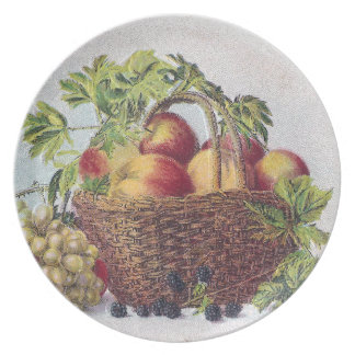 Peaches and Grapes Vintage Thanksgiving Melamine Plate