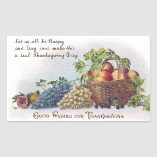 Peaches and Grapes Vintage Thanksgiving Rectangular Sticker