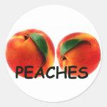 Peaches are Delicious Round Stickers
