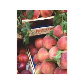 Peaches at a Farmers Market in Italy Canvas Print