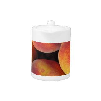 Peaches background teapot