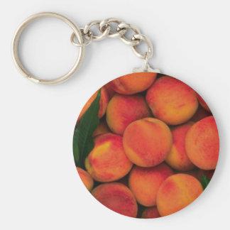 Peaches Basic Round Button Keychain