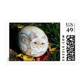 """""""Peaches"""" cat rock stamp"""