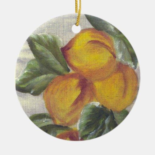 peaches ceramic ornament