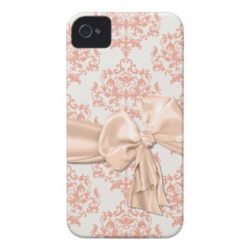 Peaches & Cream Damask iPhone 4 Casemate iPhone 4 Case-Mate Cases