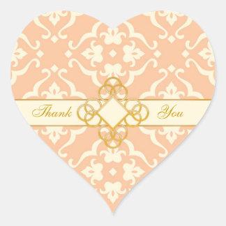 Peaches & Cream Damask Jewel Wedding Heart Sticker