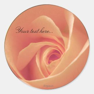 Peaches & Cream Rose Wedding Invitations Seals Classic Round Sticker