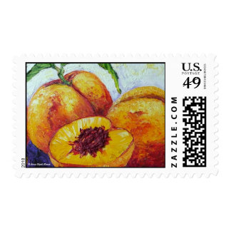 Peaches Fruit Postage Stamp