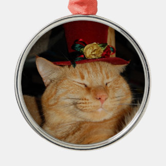 peaches in tophat round metal christmas ornament
