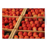 Peaches in wooden crates