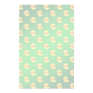 Peaches Pattern - Green Background Custom Stationery
