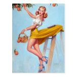 Peaches Pin Up Postcard