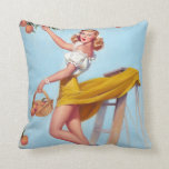 Peaches Pin Up Throw Pillow