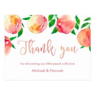 peaches thank you card, little peach baby shower postcard