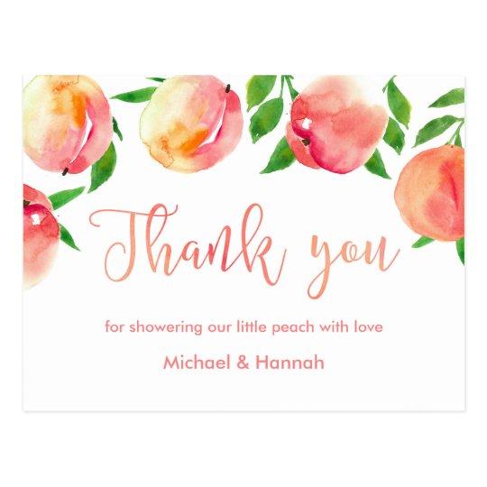 Peaches Thank You Card Little Peach Baby Shower Postcard Zazzle