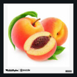 """Peaches Wall Sticker<br><div class=""""desc"""">Customizable wall decals to decorate your home,  fresh and juicy,  you can change size and shape,  and add any text you like. Look at my big collection of fruits and vegs at http://www.zazzle.com/6hands. :)</div>"""