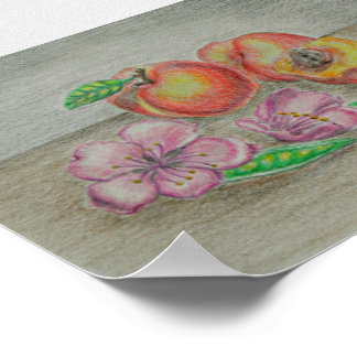 Peaches with blossom flowers print