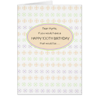 Peachy 100th Birthday Greeting Card for Her