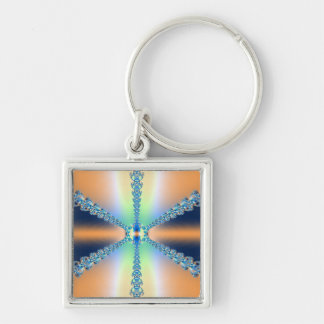 Peachy Baby Blue Silver-Colored Square Keychain