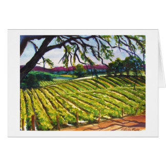 """Peachy Canyon Vineyard"" Orig. Watercolor CARD"