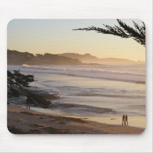 Peachy Carmel Beach Sunset Mouse Pad