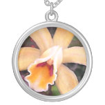 Peachy Cattleya Orchid Round Pendant Necklace