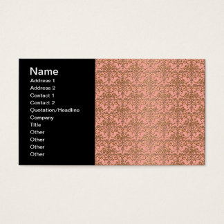 Peachy Coral and Gold Damask Pattern Business Card