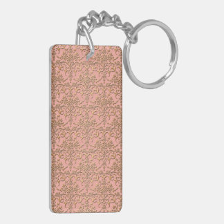 Peachy Coral and Gold Damask Pattern Keychain