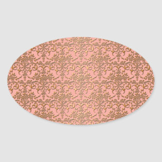 Peachy Coral and Gold Damask Pattern Oval Sticker
