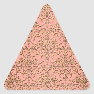Peachy Coral and Gold Damask Pattern Triangle Sticker