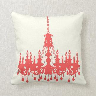 Peachy Coral Chandelier  Designer Pillow