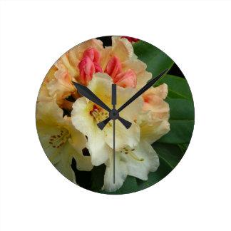 Peachy Cream Azaleas Round Wall Clock