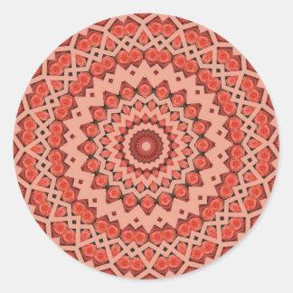 peachy flowers fractal design classic round sticker