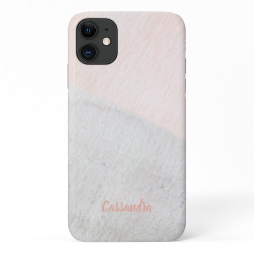 Peachy Gray Watercolor with name iPhone 11 Case