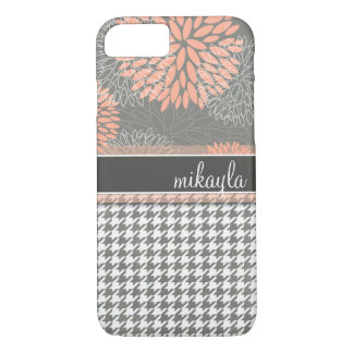 Peachy Keen Flowers and Houndstooth iPhone 8/7 Case