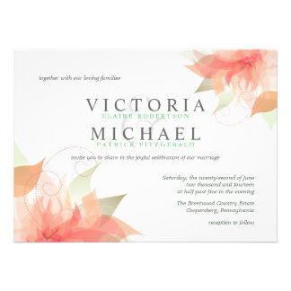 Peachy Orange and Green Wedding Invitations