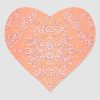 Peachy Orange and Pale Pink Damask Heart Stickers