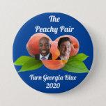 """Peachy Pair Georgia 2020 - Senate -Warnock/Ossoff Button<br><div class=""""desc"""">Flip Georgia Blue 2020 - Jon Ossoff Reverend Raphael Warnock - Georgia Senate</div>"""