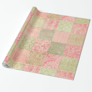 Peachy Patchwork Gift Wrap Paper