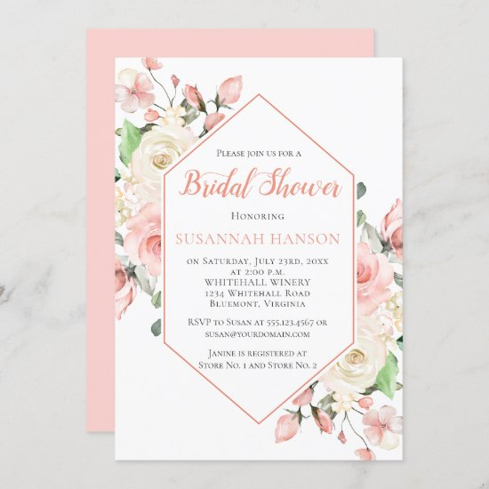 Peachy Pink and White Roses Frame Bridal Shower Invitation