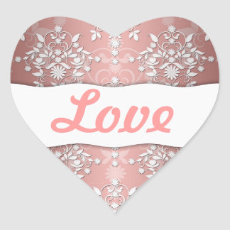 Peachy Pink Girly Floral Damask Heart Sticker