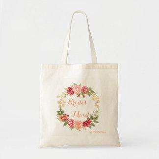 Peachy pink gold roses wreath wedding bridesmaid tote bag