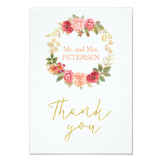 Peachy pink gold roses wreath wedding thank you card